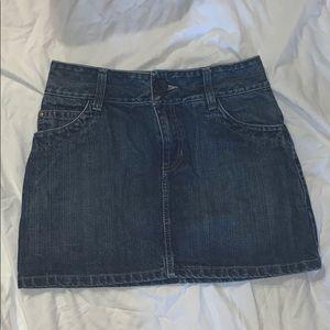 A denim mini skirt, worn once